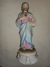 ANCIENNE STATUE RELIGIEUSE/JESUS SACRE COEUR / BISCUIT ANDENNE OU SAXE / HT 37cm