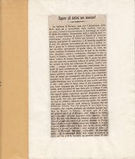 FIRENZE POLEMICA SU NOMINE E ALCUNE STATUE SOTTO LOGGIA DEI LANZI 1848 ARTICOLO