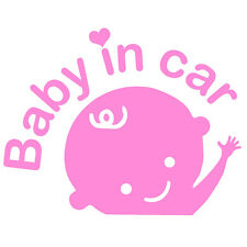"BABY IN CAR WAVING V1 (6.7"" LIGHT PINK) Vinyl Decal Window Sticker"