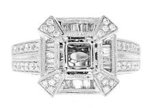 Diamond Engagement Semi Mount Ring Setting 18k White Gold 1.48ct Baguette