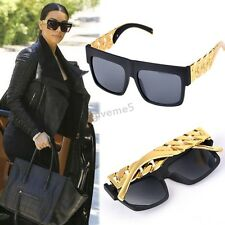 WOMEN'S STYLISH TRENDY LARGE SUNGLASSES GOLD & BLACK BIG EYE SUN GLASS SHADES UK