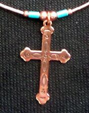 Copper Necklace Wheeler Cross Detox Healing Simulated Turquosie lcn 003