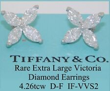 TIFFANY & CO VICTORIA PLAT DIAMOND EARRINGS RARE EXTRA LARGE 4.26tcw D/F IF/VVS2