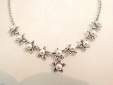 Jewellery - Sterling Silver, Marcasite & Faux Pearl Necklace - Deceased Estate