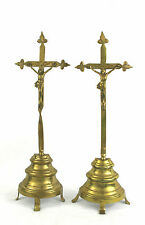 Vintage Antique Brass Altar Cross Crucifix Free Standing Set of 2 Twisted Stem