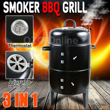 3 in1 Portable BBQ Charcoal Grill Barbecue Smoker Roaster Garden Outdoor Cooking