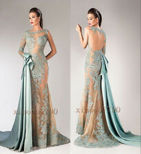 Long Beads Evening Cocktail Formal Party Ball Bridesmaid Lace Prom Gown Dress