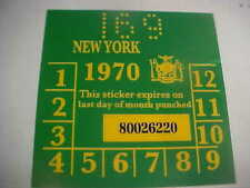 new york 1970 registration inspection sticker windshild