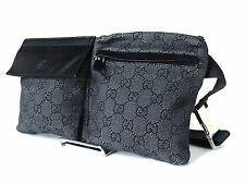 Authentic Gucci GG Pattern PVC Canvas Leather Navy Blue Waist Belt Bag GW0817