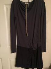 NWT LOIZA By Patrizia Pepe Blue Black Long Sleeve Drop Waist Drape Dress Size 0