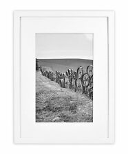 """Wall Photo Frame Collection, 12""""x16"""" Photo Wood Framewith White Mat & Real,White"""