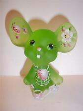 """Fenton Glass Key Lime Green """"Strawberry"""" Mouse ONLY 29 Made Special EVENT Piece!"""