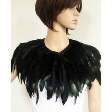 Fashion Hand Made Black Feather Cape Shawl Scarf Wedding Party Dress Costume
