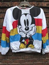 vtg 80s MICKEY MOUSE reversible sweater JG Hook L XL rainbow allover print