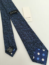 PAUL SMITH BLACK WITH IRIDESCENT BLUE FLORAL DESIGN 100% WOVEN SILK NARROW TIE