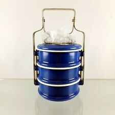 Bento Lunch Box Food Thai Enamel Tiffin Carrier Container Pinto Enamelware Blue