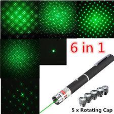 6 in 1 Verde fascio Laser Pointer Pen puntatore penna effetto 532nm luce cap