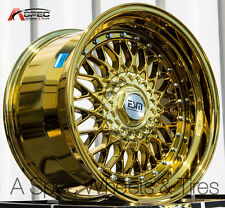 17X8.5 17X10 +15 ESM 002 5X100 GOLD PLATINUM RIM FIT SUBARU BRZ STAGGERED STANCE