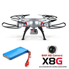 Syma X8G 2.4G 4CH 8MP HD Camera Headless Mode RC Drone Quadcopter W/ 2 Batteries