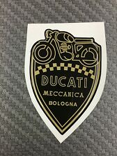 1 Stickers Scudetto DUCATI Meccanica Vintage Gold & Black 3D resinato 70 mm
