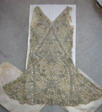 1920s WEDDING Dress Cream Floral BEADED Design Silk Chiffon Rhinestones Sm /M