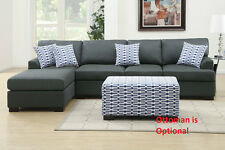 Sectional Sofa Couch & Chaise Living room set in Black Blended Lenin Furniture