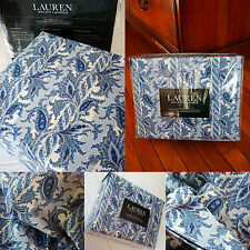 NEW Ralph Lauren QUEEN sheet set 4pc Jacobean Floral paisley stripe BLUE WHITE