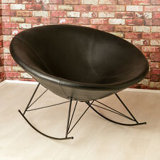 Ozzy Round Designer Leather Rocking Chair / Unique Bowl Seat /Black Accent Chair