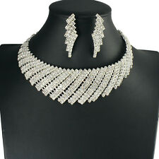 Bridal cubic zirconia encrusted choker necklace & earrings fashion jewellery set