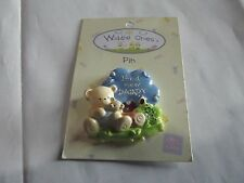 """Widdle Ones Clothes Pin Badge. """"I'am A New Daddy"""". Handpainted. Free P&P"""