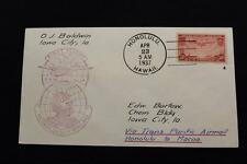 1ST FLIGHT COVER 1937 HAND CANCEL TRANS-PACIFIC FLT HAWAII TO MACAO (3210)