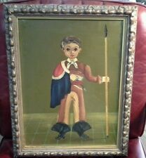 AGAPITO LABIOS VINTAGE MEXICAN FOLK ART OIL PAINTING BULL FIGHTER BOY