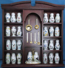 LENOX BIRDS & BLOSSOMS PORCELAIN SPICE JARS SPOONS DISPLAY CABINET COMPLETE