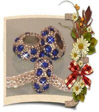 ♥ Spacer Bead Charm Strass Rondell European Tibetsilber silber blau ♥ PBS075