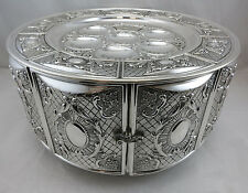 Sterling Silver 925 Passover Pesach Seder Kaarah Plate 3 Tiered with Doors 1991g