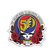 50th ANNIVERSARY GRATEFUL DEAD STICKER DECAL BUMPER STICKER STEAL YOUR FACE ROSE