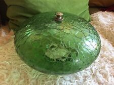 VINTAGE green CRACKLE GLASS CEILING swag table lamp part LIGHT GLOBE sHADE