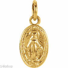 14k Gold Virgin Mary Mother of Christ Miraculous Medal Charm Itsy Tiny Pendant