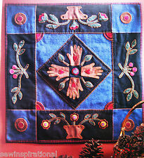 1880s ABUNDANT BLESSINGS WALL HANGING WOOL VINTAGE QUILT PATTERN
