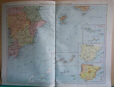 1919 LARGE MAP- EUROPE-SPAIN AND PORTUGAL SOUTH EAST,INSET MADEIRA,AZORES,CANARY