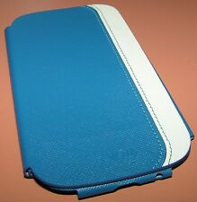 Voia Premium Leather flip cover case Samsung Galaxy S III, Blue, White, NEW