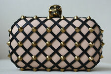 ALEXANDER MCQUEEN SKULL STUDDED LATTICE LEATHER CLUTCH BAG