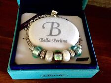 Bella Perlina Charm Bead Bracelet - Aqua Blue Brown - NIB