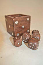LOVELY HANDMADE WOODEN BOXED DICE SET GAME BOX 5 DICE GLASS TOPPED WOODEN BOX