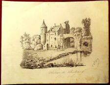 Personnages à cheval au Chateau de Boubias - Saone et Loire -  Dessin ancien