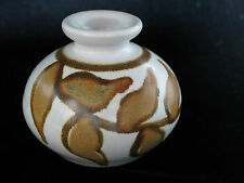 "Signed Paskal Art Pottery Vase Cream W/Brown Abstract Wheat Design 3"" Tall XLNT"