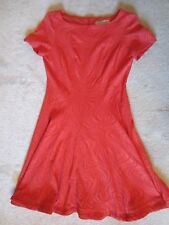 WOMEN'S DANNY AND NICOLE RED CORAL RED SHORT SLEEVE PEPLUM BOTTOM DRESS PM NEW