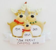 Personalized Reindeer Family of 3 Christmas Ornament