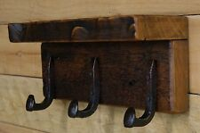 "Reclaimed 18"" Vintage White Pine Coat Rack with 3 Railroad Spike Hooks and shelf"