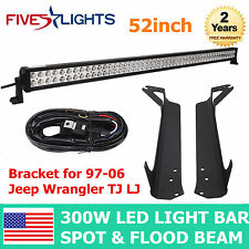 "97-06 Jeep Wrangler TJ LJ Mounting Bracket for 52"" 300W LED Light Bar+Wiring Kit"
